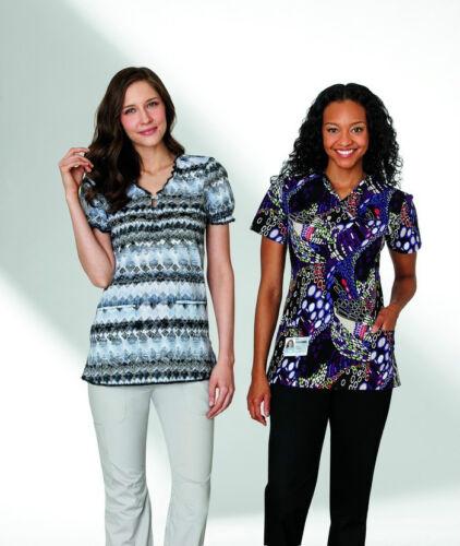 White Swan Women/'s Fashion Scrub top Style 5840-385 Grey Zig Zags