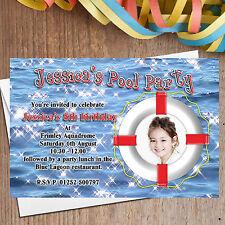 10 Personalised Boys Girls Swimming Pool Birthday Party Invitations Invites N116