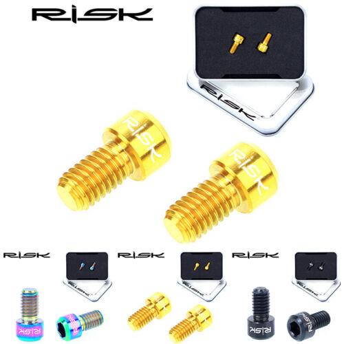 RISK 2pcs Titanium M6*10mm Bicycle Brake Cable Bolts MTB Bike V Brake Bolt Screw