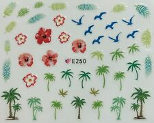 Nail Art 3D Decal Stickers Tropical Palm Trees Flowers Birds Feathers E250