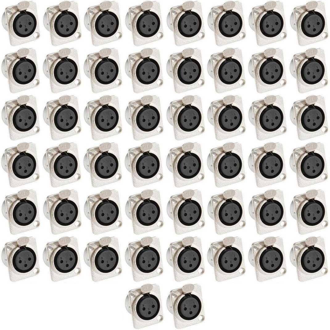 50x XLR female Einbaubuchse D-Typ-Form 3-pol Buchse Neutrik kompatibel Kupplung