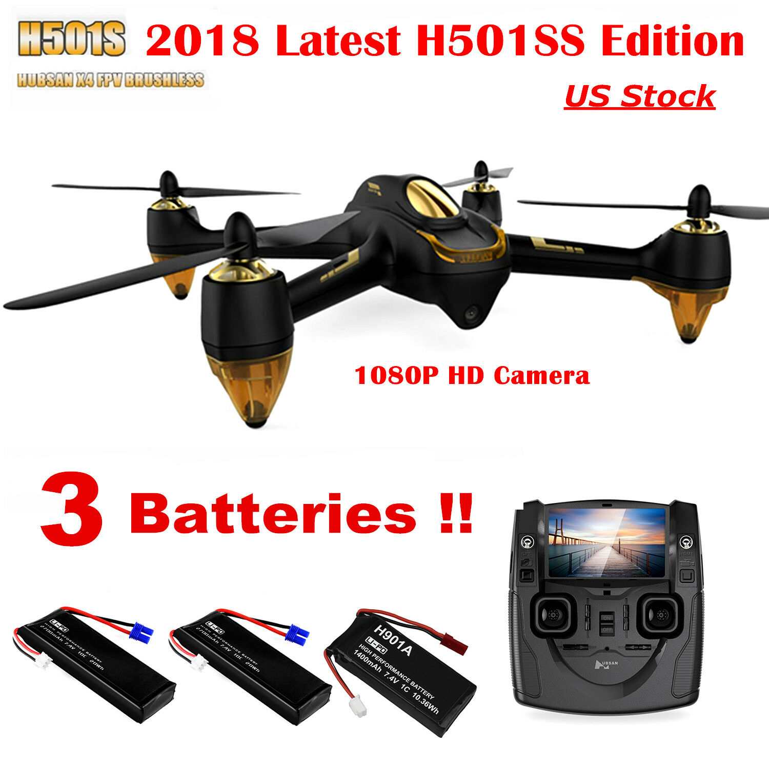 Hubsan X4 H501S Pro Drone Brushless 1080P FPV RC Quadcopter Follow Me GPS RTF US