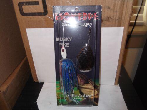 Esox Edge Custom Lures USA made Esox Thumper spinnerbait silver//blue flash