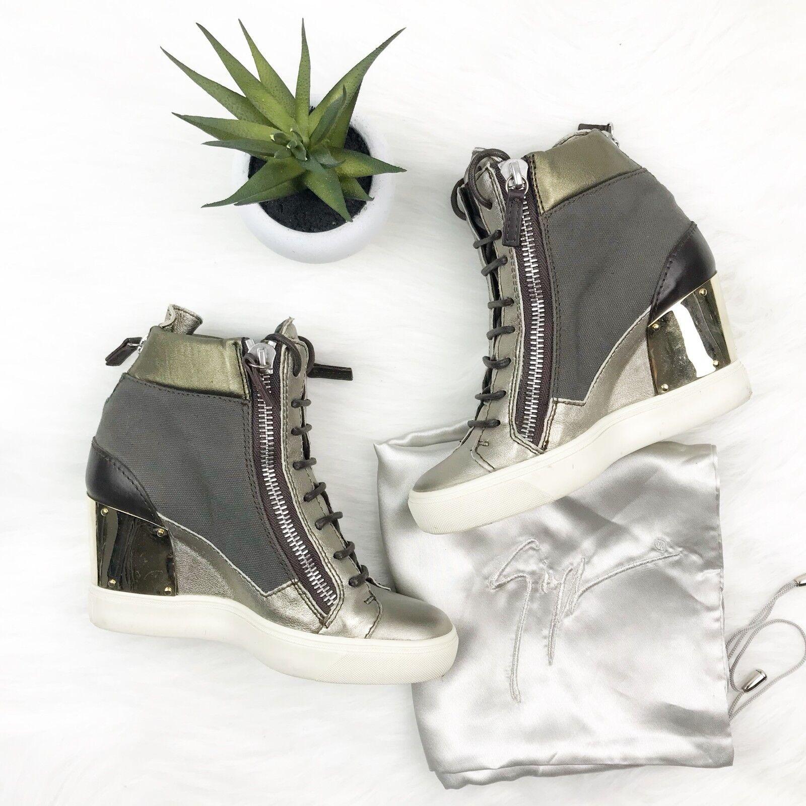 Giuseppe Zanotti Sz 35 35 35 Alba Canvas Metallic Wedge scarpe da ginnastica Made in  813947