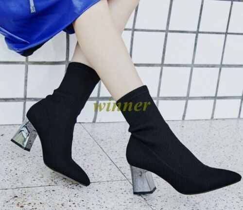 Womens PointyToe Chunky Block Heels Ankle Boot Mid Calf Shoes Stretch Sock Boot
