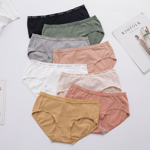Cotton Underwear Women Briefs Mid-Waisted Panties Lady Knickers Lingerie 3 Pack
