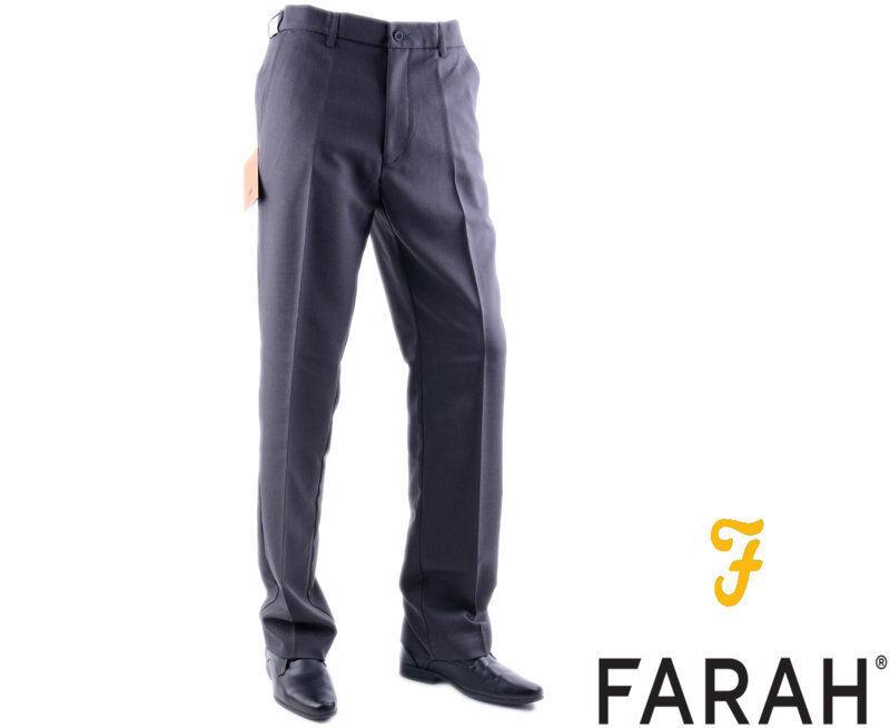 FARAH Mens Trousers Charcoal W32 W34 W36 Flexi Waist Stretch Straight Flat Front