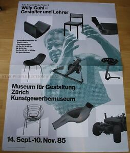 SWISS-EXHIBITION-XXL-POSTER-1985-WILLY-GUHL-DESIGNER-AND-TEACHER-art-print