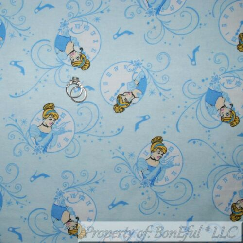 BonEful Fabric FQ Cotton Flannel Quilt VTG Blue Disney Princess Cinderella Clock