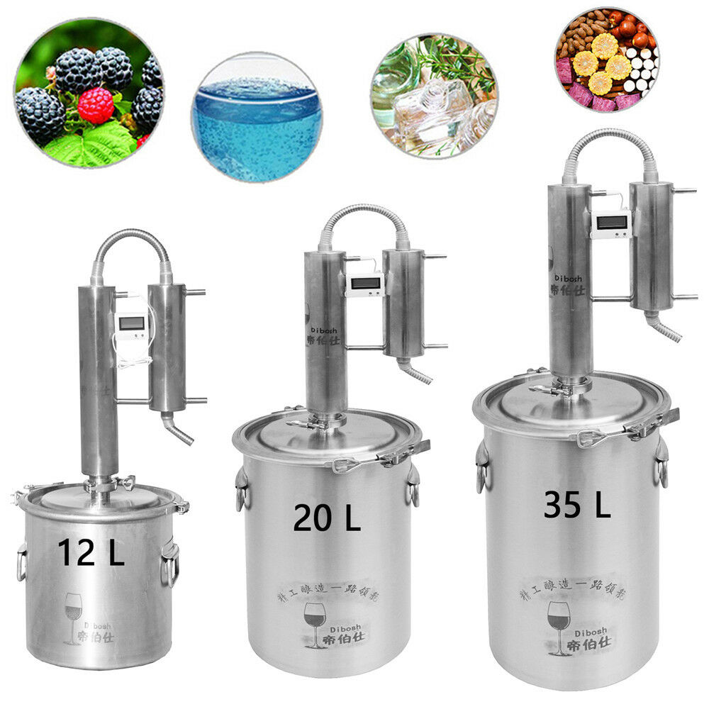 12 20 35L Home Distiller Moonshine Still Stainless Steel Water Alcohol Brew Set