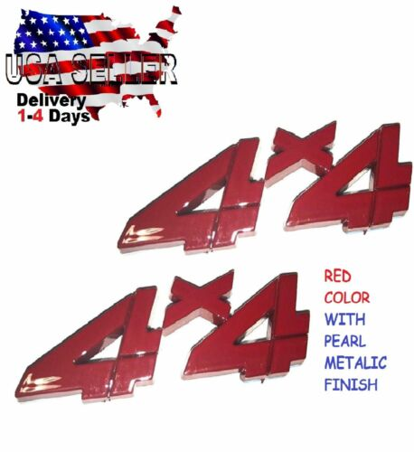 X2 Pieces RED 4 X 4 EMBLEM 4X4 TRUCK Logo Decal SIGN trunk ornament FITS ANY CAR