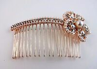 Hair Comb Pearl Rhinestone Gold Metal Dressy Hair Accessory