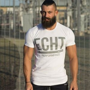 Men-039-s-ECHT-Fitness-Gym-Muscle-Training-Basic-Cotton-Bodybuilding-T-shirt-Tee