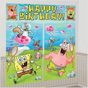 SPONGEBOB SCENE SETTER Happy Birthday Party Wall Decoration Room ...