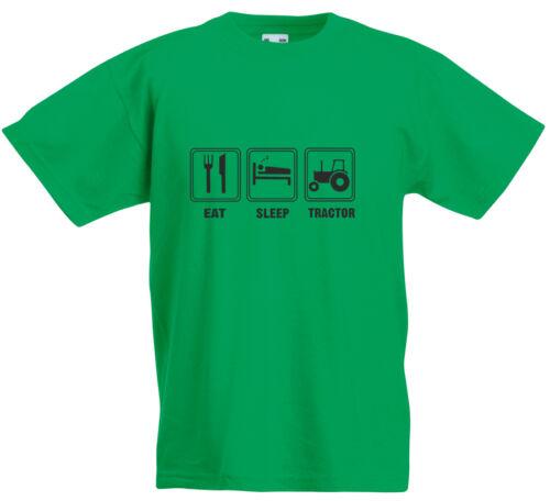 Eat Sleep Tracteur Enfant T-Shirt Imprimé Décontracté T Garçon Fille Coton