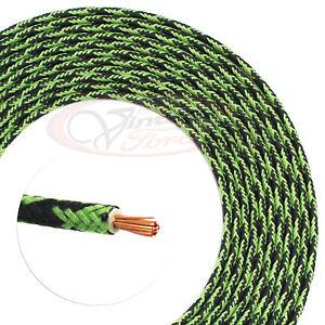 Vintage Wire Automotive 14 Ga Green Black Cloth Wiring Hot Rod