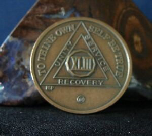 43 Year Alcoholics Anonymous AA Bronze Medallion Coin Chip Token Sobrity Sober