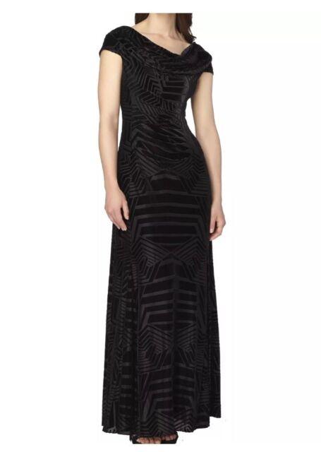 6bf7cad8d7cea Tahari by ASL NEW Black Women Size 8 Velvet Cowl Neck Ball Gown Dress $209
