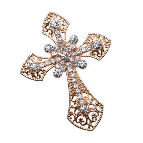5pcs Alloy Cross Flatback Rhinestone Embellishments for DIY Brooches Crafts
