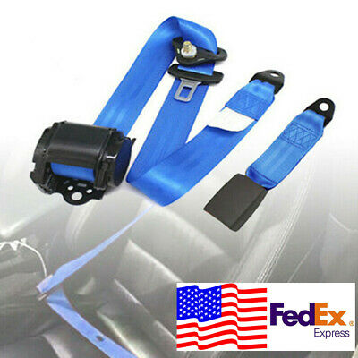 Universal 3 Point Front Seat Belt Buckle Kit Automatic Retractable Safety Strap