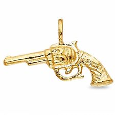 Polished solid 14 k stamped yellow gold gun pistol charm ebay pistol charm gun pendant solid 14k yellow gold revolver charm diamond cut men aloadofball Image collections