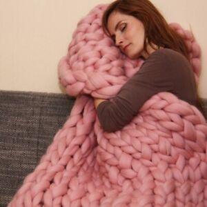 Warm-Sofa-Chunky-Handmade-Knit-Yarn-Blanket-Thick-Bulky-Knitted-Throw-Home-Decor