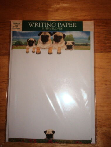 OTTER HOUSE WRITING PAPER PUG FAMILY  AVRIL HAYNES  20 SHEETS & ENVELOPES