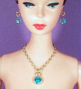 Barbie Handmade Jewelry Antique Silver and Aqua Rhinestone Belt and Earrings