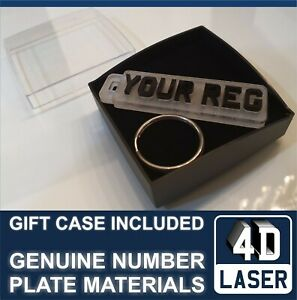 REG Number Plate CAR registration METAL Keyring ENGRAVED  gift box MOTORBIKE