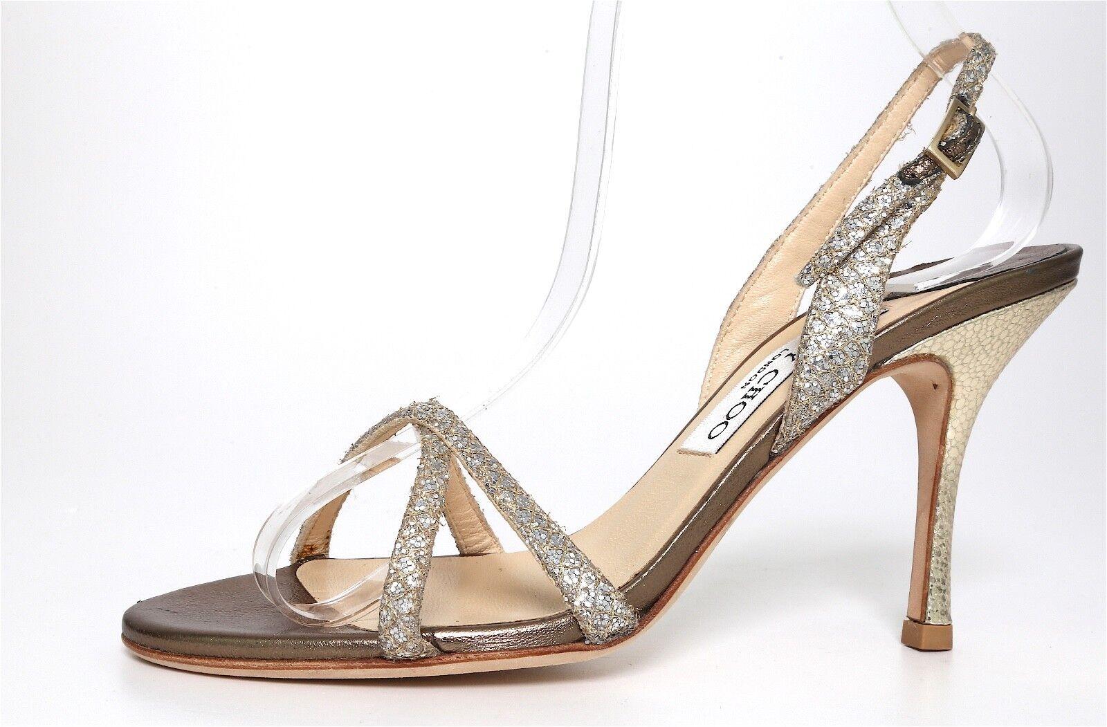 Jimmy Choo Ingrid Coated Leather Glitter Sandals Metallic Women Sz 36.5 EUR 5116