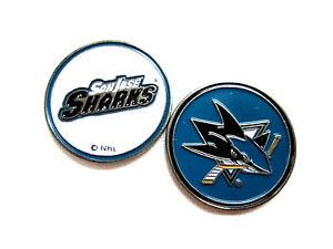 7392bd6c34c NHL San Jose Sharks Golf Ball Marker Enamel Metal Team Logo 2 Sided ...
