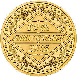50th Anniversary 1oz 999 Silver Medallion Gold Plated
