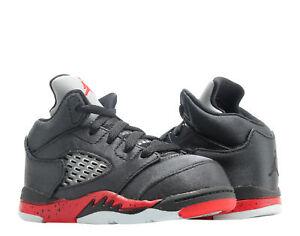 49ed5a5ef15b Nike Jordan 5 Retro (TD) Satin Black Red Toddler Kid Basketball Shoe ...