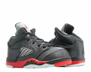 9f1112c0e929 Nike Jordan 5 Retro (TD) Satin Black Red Toddler Kid Basketball Shoe ...