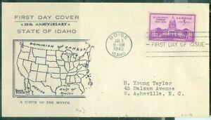 US -FDC.896 IDAHO STATE 50th ANNIV.CANCEL.BOISE IDAHO.JUL.3-1940 ADDR.