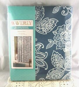 Waverly-BELINDA-BLUE-White-Fabric-Jacobean-Floral-Shower-Curtain-Brand-New