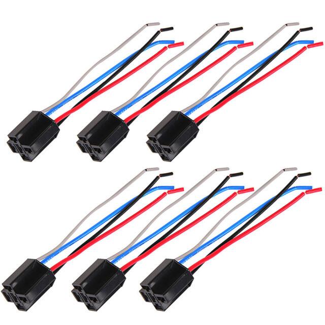 6x Car 12v 12 Volt Dc 80a Amp Relay Harness Socket