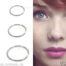 70 Surgical Steel Thin Silver Nose Ring Hoop 08mm Cartilage Piercing Stud 8mm Rose Gold