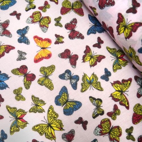 Tela Polialgodón Mariposas coloridas MARIPOSA NATURALEZA INSECTOS INSECTOS