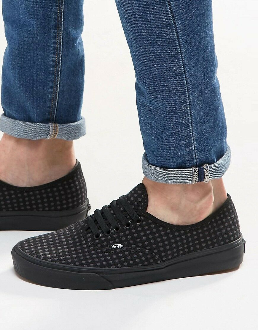Women Vans Authentic Black Wool Dots Fashion Sneakers Casual Shoes New