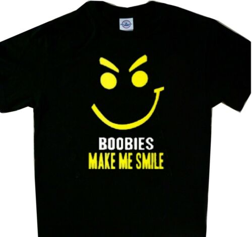 Smiling Face Boobies Make Me Smile New Black Funny T/'shirt Long Sleeve Tees