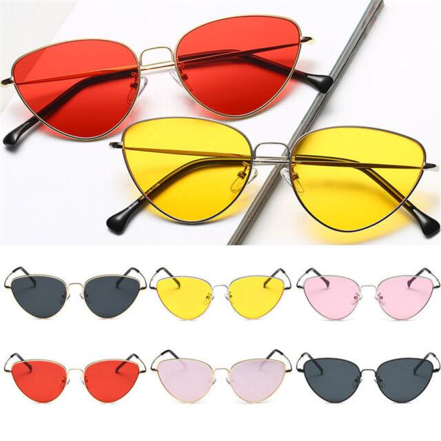 New Womens Cat eye Sunglasses Vintage Metal Retro Women Mirror Shape Eyewear Hot