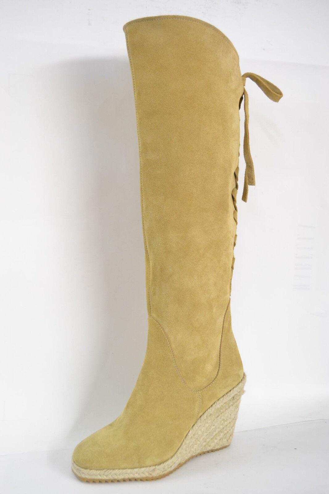 Grandes zapatos con descuento SCARPE STIVALI ITALIA DONNA VERA PELLE SCAMOSCIATO BEIGE ZEPPA CORDA ARTIGIANALI