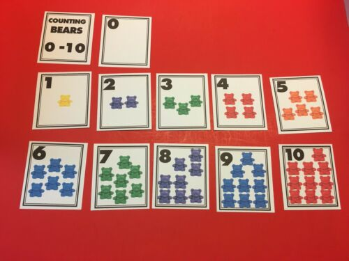Pre school Kindergarten Counting Bears 0-10 Learning Cards Laminated