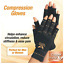 Arthritis-Gloves-Fingerless-Copper-Hands-Compression-Medical-Support-Therapeutic thumbnail 2