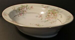 "Theodore Haviland Apple Blossom Gold Trim Oval 9 1/2"" Vegetable Serving Bowl(s)"