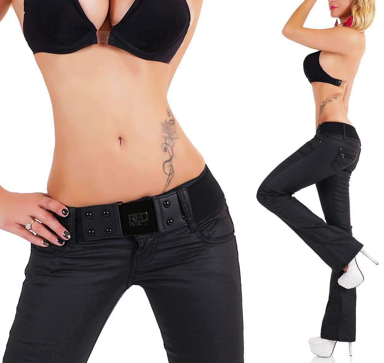 SeXy Miss Hüft Hose LoW CuT Kunst Leder Wet Style black Gürtel 32 34 36 38 40