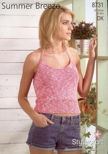 """Stylecraft Knitting Pattern 8731 Ladies Halterneck Vest Top 32-42/"""" Cotton DK NEW"""