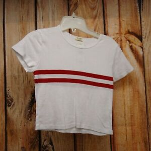 John-Galt-Womens-Top-One-Size-Fits-All-Red-Striped-Crewneck-Cropped-Tee-New