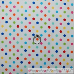 BonEful-FABRIC-FQ-Cotton-Quilt-Rainbow-Color-White-Blue-Pink-Yellow-Polka-Dot-US
